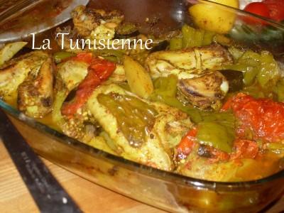 Rôti épicé de poulet aux légumes – Mosli djej be khodhra