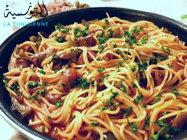spaghetti aux merguez à la tunisienne façon one pot pasta